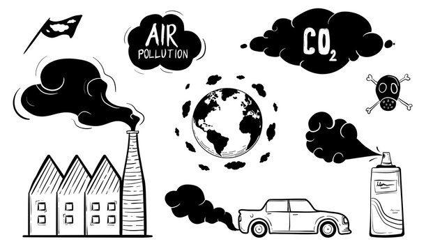 Air Pollution Icon Set Hand Drawn Vector Illustration