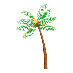 palm with coconut icon cartoon
