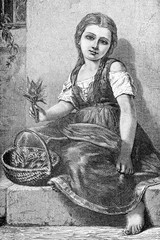 Poor little girl sitting on the sidewalk stone barefoot offers lily of the valley may flowers in a basket to buy