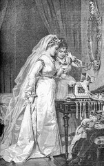 A fresh spouse dressed in white for the ceremony shows proudly the marriage presents and jewels at the bridesmaid