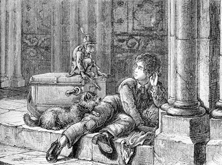 A Savojard boy, itinerant performer, rests at the church door with his pets and a street organ