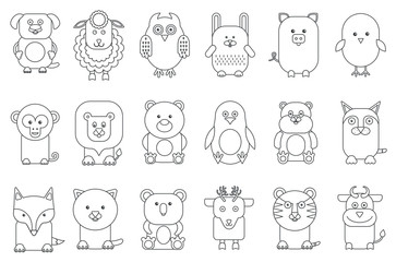 Black outline various adorable cartoon animals mammals and birds set vector illustration.