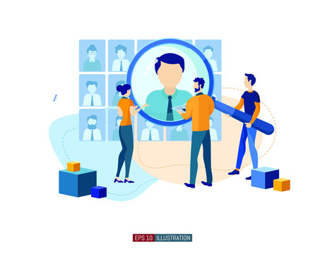 Trendy flat illustration. Businessmen are looking for an employee. Open vacancy. Hiring staff. Discussion of the applicant. Interview. Human resources. Template for your design works. Vector graphics.