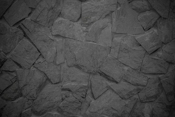 Wall Mural - Black stone wall as background
