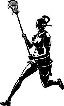 Lacrosse Woman Running, Shadowed Vector