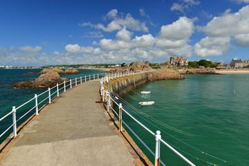 La Rocque Harbour, Jersey, U.K. Summer coastal view.