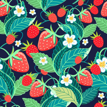 Seamless bright vector pattern with strawberries and berries