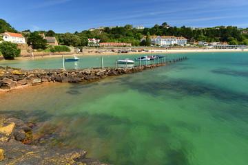 St Brelades Bay, Jersey, U.K. Landmark beach resort of the island in the Summer.