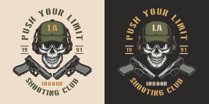 Vintage shooting club colorful emblem