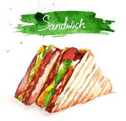 Watercolor sandwich with lettering, classical fast food.