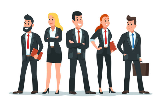 Business people team. Office teamwork, professional finance workers group and businessman characters. Salesman team, colleagues conference meeting or freelance businessman vector cartoon illustration