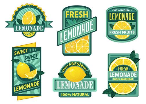 Lemonade badge. Lemon syrup, fresh lemonades emblems and lemons fruits juice drink vintage badges. Vegetarian juice brand sticker, cold lemon tea or rustic homemade lemonade. Isolated vector icons set