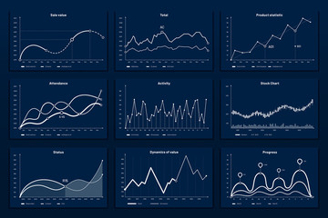 Wall Mural - Data graphic charts. Maths coordinates graph, growth chart graphics and business infographic graphs. Data research chart, statistics graphics or diagram visualization bar vector illustration set
