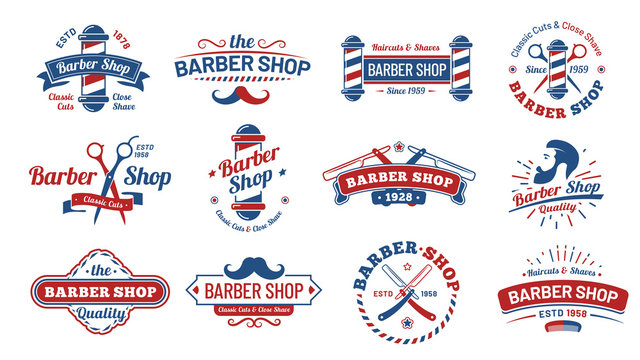 Barbershop badges. Vintage barber label, retro shave salon badge and gentleman haircut old sign. Barbers hipster mustache or beard logotype, barbering tattoo. Vector illustration isolated symbols set