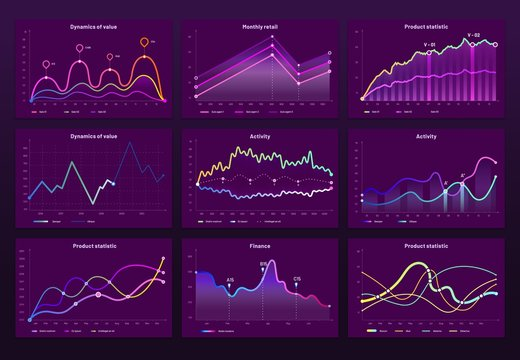 Abstract data charts. Statistic graphs, finance line chart and marketing histogram graph infographic. Financial holographic display, futuristic neon charts or infographic reports bars vector set