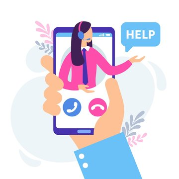 Virtual female assistant. Personal assistants service, technical support chat and personal online hotline consult. Business customer service advice, supporting operator in headset vector illustration