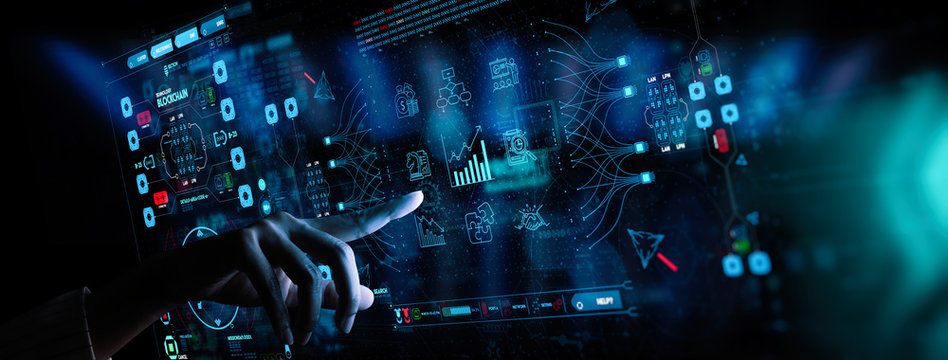 hand working with Business data analytics process management with KPI financial charts and graph marketing dashboard.