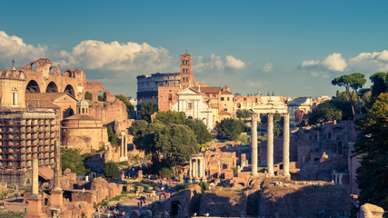 Fototapete - Panoramic view of the Roman Forum in Rome, Italy