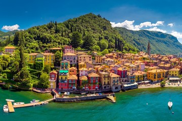 Aerial view of Varena old town on Lake Como with the mountains in the background, Italy, Europe