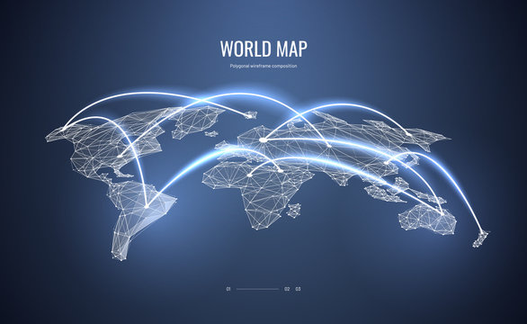 World map isometric. Polygonal wireframe composition. Air travel concept. Abstract illustration isolated on blue background. Particles are connected in a geometric silhouette.