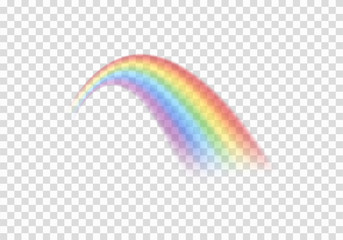 Realistic Colored transparent rainbow. Vector EPS 10. Perspective diagonal view. Multicoloured circular arc. Beautiful meteorological phenom occurring after rain. Symbol of good luck