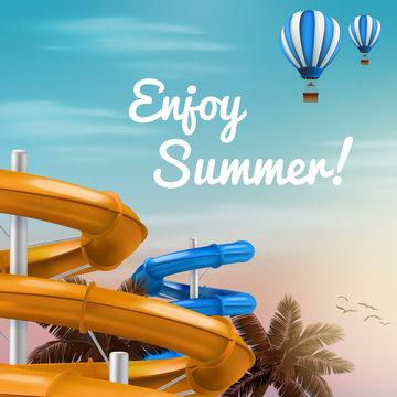 Realistic illustration of 3d water slides Vector Illustration of Waterpark with pool aquapark aqua park splash umbrella bubbles and beach palm lifebuoy ring. EPS 10
