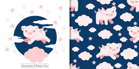 cute pig baby animal card seamless pattern set