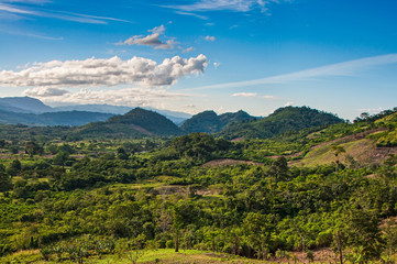 Landscape view on green nature and mountains in Chiapas, Mexico, Yucatan peninsula, near to San Cristobal de las Casas