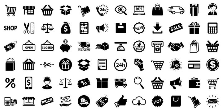 Shopping icons, set shop sign for web development apps and websites - vector