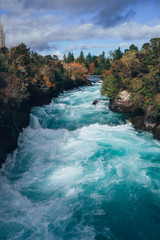 River at the Huka Falls in New Zealand in autumn