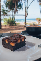 Cappuccino and a brownie at the beach