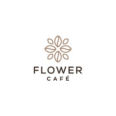 flower coffee shop concept vector icon logo design