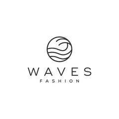 simple wave line vector logo design
