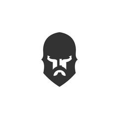warrior helmet head vector logo design