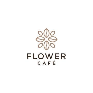 flower coffee shop concept vector icon logo design
