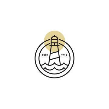 bedge lighthouse outline vector icon logo design