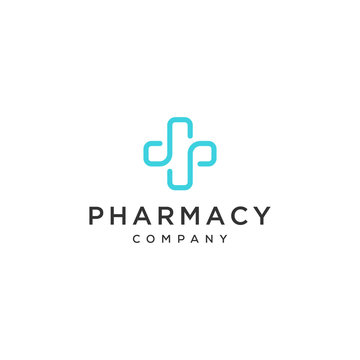 health cross pharmacy symbol line vector icon logo design