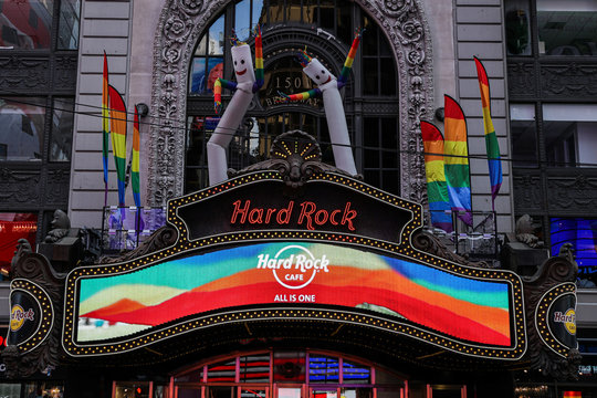 Rainbow pride flags are seen at Hard Rock cafe ahead of the 50th anniversary of the Stonewall riot, in New York