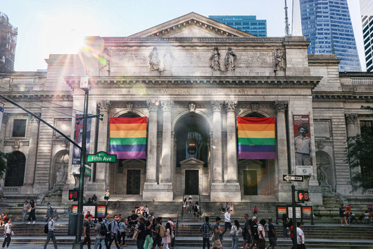 Rainbow pride flags are seen at the New York public library ahead of the 50th anniversary of the Stonewall riot, in New York
