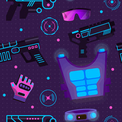 Gamer in laser tag vector player character gaming in lasertag with gun shooting in aim illustration in gameplay with laser weapon background