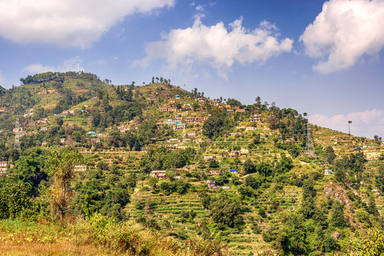 Agriculture fields, terraces, near Dhulkhel in Nepal