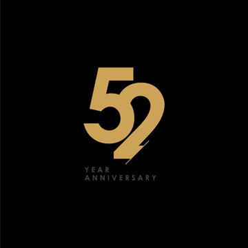 52 Year Anniversary Celebration Vector Template Design Illustration