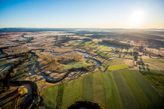 Farmland Outback Hot Air Ballooning Aerial View