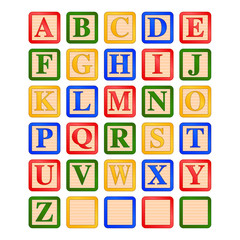 uppercase letters children's wooden alphabet blocks vector graphic icon illustration