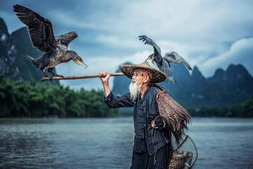 Cormorant fisherman in Traditional showing of his birds on Li river near Xingping, Guangxi province, China. Wall mural