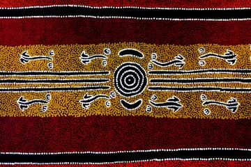 Fototapeta Indigenous Australian art Dot painting background obraz