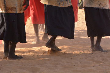 Fototapeta Indigenous Australians aboriginal women dancing a cultural ceremony dance obraz