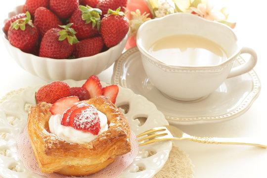 Homemade strawberry Danish pastry for breakfast image