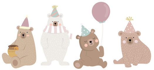 Cute bear character with friend. Vector illustration for birthday invitation,postcard and sticker