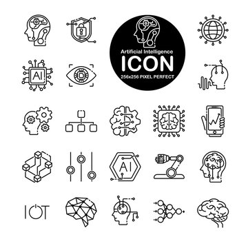 Set of line icon about artificial intelligence. Include brain,circuit,world,automationand more.Editable vector stroke.265x265 Pixel Perfect